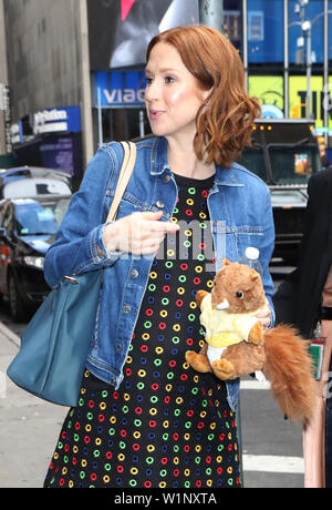 NEW YORK, NY - July 03. Ellie Kemper seen after an appearance on Good Morning America promoting her new book My Squirrel Days on July 03, 2019 in New York City. Credit: RW/MediaPunch - Stock Photo