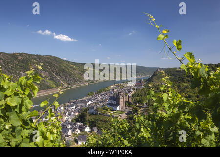 View over Oberwesel and the Rhine, Upper Middle Rhine Valley, Rheinland-Palatinate, Germany, Europe - Stock Photo