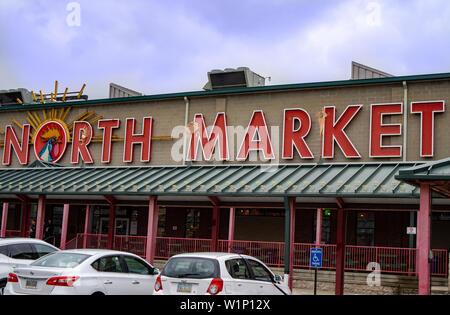Columbus, Ohio / USA - 04.17.2018 - North Farmers market building outside