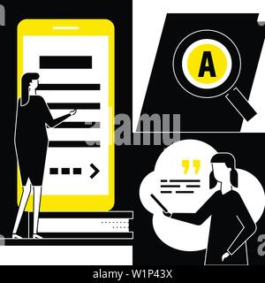 Online library - flat design style conceptual illustration - Stock Photo
