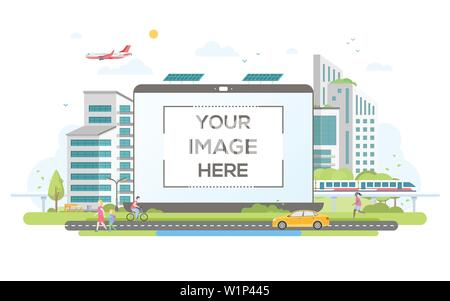 Eco-friendly housing complex - flat design style vector illustration - Stock Photo