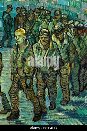Vincent Van Gogh, Prisoners Exercising, The Prison Courtyard, painting detail, 1890 - Stock Photo