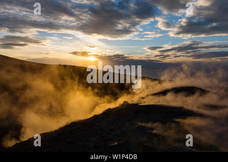 Sulfuric steam on the crater rim of Gran Cratere, view from Vulcano Island to Salina and Lipari, Lipari Islands, Aeolian Islands, Tyrrhenian Sea, Medi - Stock Photo