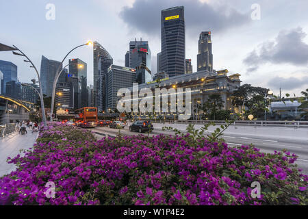 Financial District, Fullerton Hotel, Skyscraper, Twilight, Singapore, Singapur, Southest Asia - Stock Photo