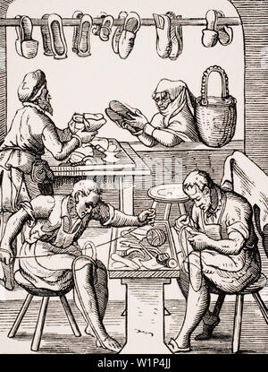 Shoemaker. 19th century reproduction of a 16th century woodcut by Jost Amman - Stock Photo