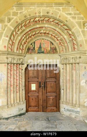 Churchdoor in Elva, Elva, Val Maira, Cottian Alps, Piedmont, Italy - Stock Photo