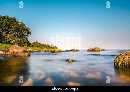 Cliff near Staberhuk lighthouse, Fehmarn island, Baltic coast, Schleswig-Holstein, Germany - Stock Photo