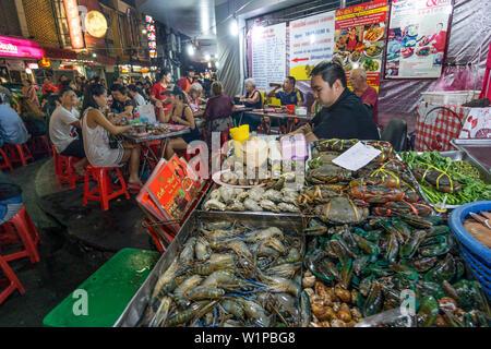 Chinatown, night market, Sea Food Restaurant, street food, Bangkok, Thailand - Stock Photo