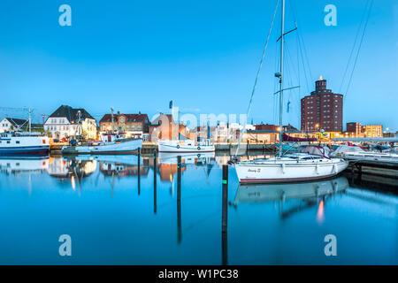 Dusk over the marina, Eckernfoerde, Baltic coast, Schleswig-Holstein, Germany - Stock Photo