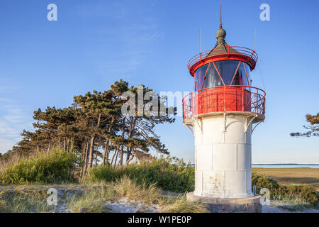 Lighthouse on the Gellen south of Neuendorf, Island Hiddensee, Baltic coast, Mecklenburg-Western Pomerania, Northern Germany, Germany, Europa - Stock Photo