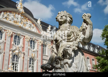 UNESCO World Heritage Trier, statue in front of the electoral palace, Trier, Rhineland-Palatinate, Germany - Stock Photo