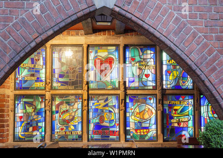 Window in a brick building in Boettcher street, Hanseatic City Bremen, Northern Germany, Germany, Europe - Stock Photo