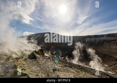 Sulfur on the crater rim of Gran Cratere, Lipari Islands, Aeolian Islands, Tyrrhenian Sea, Mediterranean Sea, Italy, Europe - Stock Photo