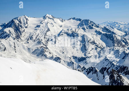 Snow-covered mountains and glaciers with Hohferner and Hochfeiler, from Wilde Kreuzspitze, valley of Pfitschtal, Zillertal Alps, South Tyrol, Italy - Stock Photo