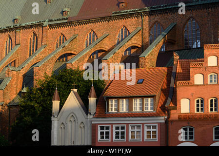 St. Nikolai with houses in front of it at the Old Market, Stralsund, Baltic Sea coast, Mecklenburg-Vorpommern, Germany - Stock Photo
