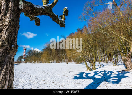 Winter at the Elbe Beach, Lighthouse Rissen, Hamburg, Germany - Stock Photo