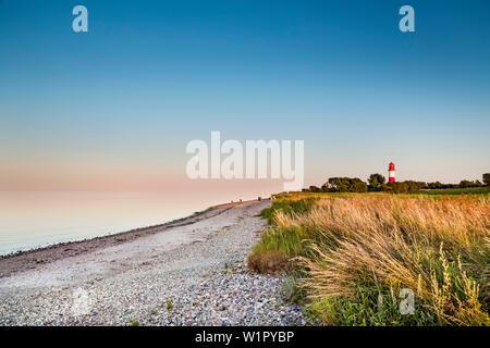 Fullmoon at Falshoeft lighthouse Falshoeft, Angeln, Baltic coast, Schleswig-Holstein, Germany - Stock Photo