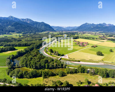 Aerial view of the Tiroler Ache with the Altwasserarm, the Uberseer Almau district, in the background the Chiemgau Mountains High, high plate and Kamp - Stock Photo