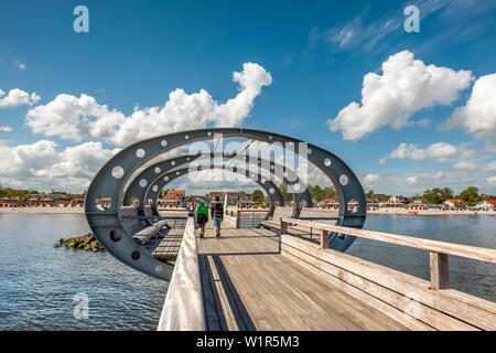 Pier, Kellenhusen, Baltic coast, Schleswig-Holstein, Germany - Stock Photo