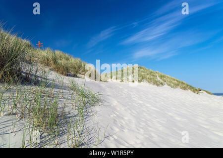 Sand Dune, Sky, Spiekeroog, North Sea, East Frisian Islands, East Frisia, Lower Saxony, Germany, Europe - Stock Photo
