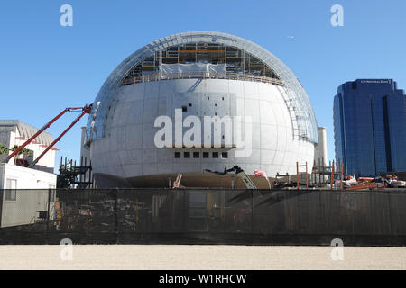 """Los Angeles, CA / USA - June 28, 2019: """"The Sphere"""" building of the Academy of Motion Pictures Museum is shown under construction. - Stock Photo"""