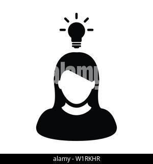 Concept icon vector female person profile avatar symbol with bulb for creative idea for business development in Glyph Pictogram illustration - Stock Photo
