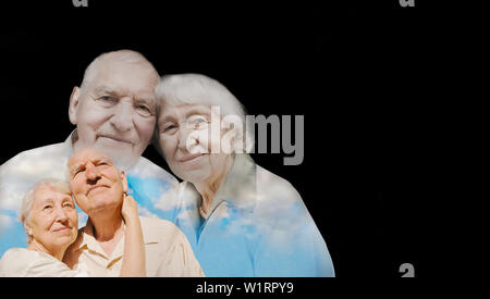 The collage of images of elderly couple on black background. concept disease pain medication and love and mutual. Collage with double exposition - Stock Photo