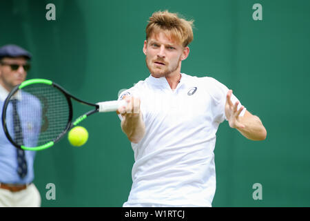 London, UK. 3rd July, 2019. David Goffin of Belgium during the men's singles second round match of the Wimbledon Lawn Tennis Championships against Jeremy Chardy of France at the All England Lawn Tennis and Croquet Club in London, England on July 3, 2019. Credit: AFLO/Alamy Live News - Stock Photo