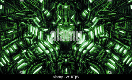 Cyber wall with bas-relief and protruding robot head. Glowing lamps and mechanisms. Illustration in genre of science fiction. Green color background. - Stock Photo