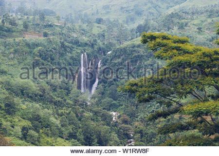 Waterfall near Ramboda, Nuwara Eliya, Sri Lanka - Stock Photo