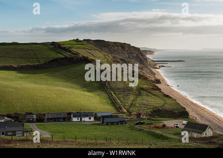 Bridport, Dorset, England, UK - Jan 14th, 2019 - View of Eype beach and West Bay cliffs film location of Broadchurch along the South West Coast Path.