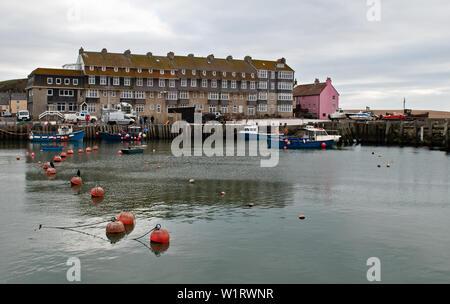 West Bay, Bridport, West Dorset, England, UK - Jan 14th, 2019 - West Bay harbor, filming location of Broadchurch Harbor.