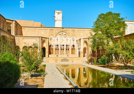 KASHAN, IRAN - OCTOBER 23, 2017: The Borujerdi Historical House is one of the main architectural city landmarks and the fine example of traditional me - Stock Photo