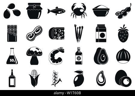 Food allergy intolerance icons set. Simple set of food allergy intolerance vector icons for web design on white background - Stock Photo