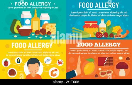 Food allergy banner set. Flat illustration of food allergy vector banner set for web design - Stock Photo