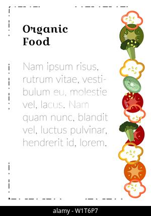 Organic food. A4 poster template. Food for marketing materials. Peppers, tomato slices, broccoli - flat vegetables for a vegetarian restaurant menu, a - Stock Photo