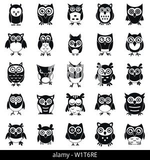 Fun owl icons set. Simple set of fun owl vector icons for web design on white background - Stock Photo