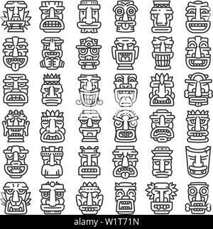 Tiki idols icons set. Outline set of tiki idols vector icons for web design isolated on white background - Stock Photo