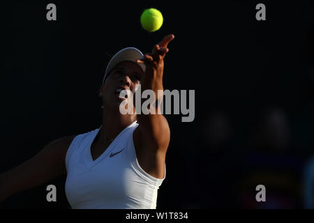 London, UK. 3rd July 2019, The All England Lawn Tennis and Croquet Club, Wimbledon, England, Wimbledon Tennis Tournament, Day 3; Madison Keys (USA) serves to Polona Hercog (SLO) - Stock Photo