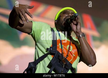 Barcelona, Spain. 3rd July 2019. Members of US hip hop band The Black Eyed Peas Apl.de.Ap performs on stage during the band's concert at the Cruilla Music Festival in Barcelona, Spain, 03 July 2019. EFE/ Enric Fontcuberta Credit: EFE News Agency/Alamy Live News - Stock Photo