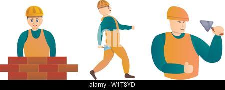 Masonry worker icons set. Cartoon set of masonry worker vector icons for web design - Stock Photo