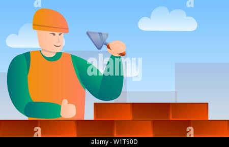 Masonry worker tools concept banner. Cartoon illustration of masonry worker tools vector concept banner for web design - Stock Photo