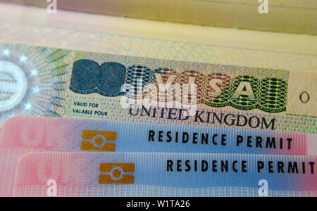 UK BRP cards for Tier 2 work visa placed on top of UK Business VISA sticker in the passport. Close up photo. - Stock Photo