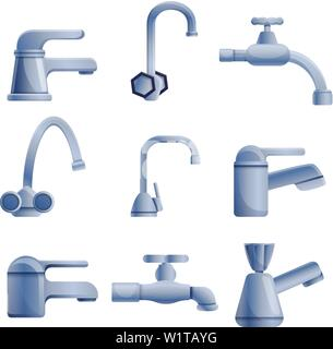 Faucet icons set. Cartoon set of faucet vector icons for web design - Stock Photo