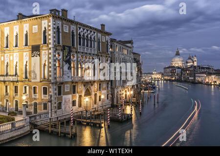 View from Ponte dell Accademia, Grand Canal, Palazzo Cavalli-Franchetti, Basilica di Santa Maria della Salute,Venedig, Venezia, Venice,Veneto, Italia, - Stock Photo