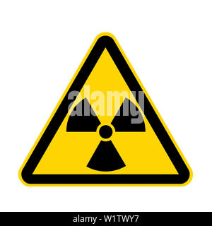 A radiation yellow danger sign isolated on white with clipping path - Stock Photo