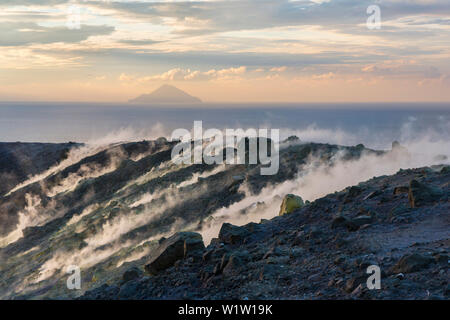 Sulfur on the crater rim of Gran Cratere, view from Vulcano Island to Filicudi, Lipari Islands, Aeolian Islands, Tyrrhenian Sea, Mediterranean Sea, It - Stock Photo
