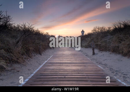Footpath, Dune, Sunrise, Dawn, Water Tower, Langeoog, North Sea, East Frisian Islands, East Frisia, Lower Saxony, Germany, Europe - Stock Photo