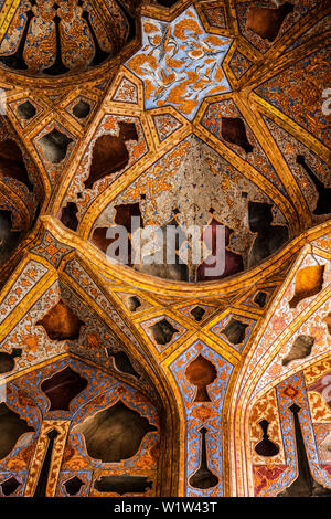 Music room of Ali Qapu Palace in Esfahan, Iran, Asia - Stock Photo