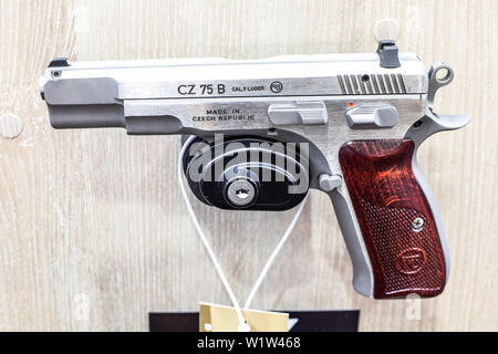 Poznan, Poland, Feb 2019 CZ semi-automatic pistol made by Czech firearm manufacturer CZUB in Czech Republic, exposition, KNIEJE Hunting shooting fair - Stock Photo